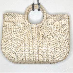 Straw rattan woven handbag beach trendy style